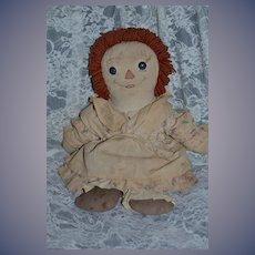 Old Doll Rag Doll Cloth Doll Button Eyes Sewn Features Sweet Asleep Awake Ragged Ann