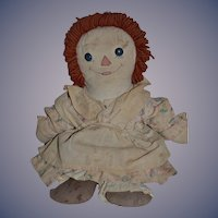 Old Doll Rag Doll Cloth Doll Button Eyes Sewn Features Sweet Asleep Awake Ragged Ann