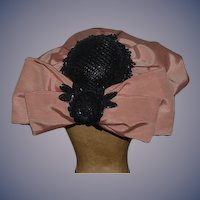 Fancy Hand Made Doll Hat Bonnet Beads Sequins Bow Wide Brim