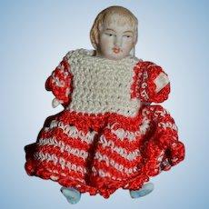 Antique Doll Miniature All Bisque Crochet Dress Dollhouse
