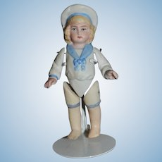 Antique Doll Sailor Boy All Bisque Jointed Miniature Dollhouse