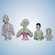 Antique Doll Miniature LOT China Head Half Doll Doll GROUP Sweet