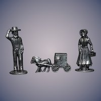 Vintage Miniature Pewter Doll Set and Horse and Buggy Dollhouse