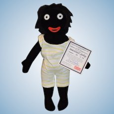 Dean's Rag Book Company Ltd Swimsuit Golly Black Cloth Doll W/ COA  & Signed Numbered