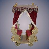 Vintage Doll Papier Mache Carriage Chariot Miniature Display