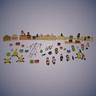 Old Wood Doll Miniature Pegged Village Set Tiny Huge Lot