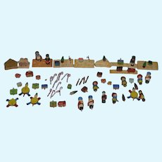 Old Wood Doll Miniature Pegged Village Set Tiny Huge Lot