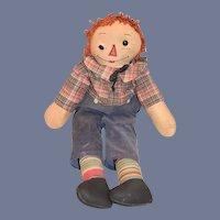 """Wonderful Old Cloth Doll Rag Doll Raggedy Andy Button Eyes Unusual 21"""" Tall"""
