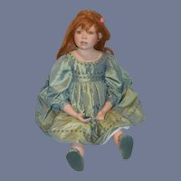 """Artist Doll """"Lilly"""" By Christine Orange Large Porcelain W/ Tag Signed Limited Edition"""