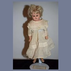 Antique Doll Sweet Papier Mache W/ Glass Eyes Pull Strings for Crier
