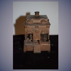 Antique Cast iron Miniature House W/ Dog Going in and out Bank Charming WORKS! HL JUDD Wind Up Mechanical 1895