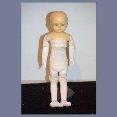 Antique Doll Motschmann Body Wax Over Papier Mache Glass Eyes Wood Limbs