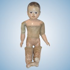 Antique 19th Century Taufling Wooden Baby EARLY Doll Glass Eyes Motschmann