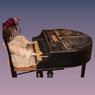 Antique Salesman Sample Baby Grand Piano Works! Doll Size