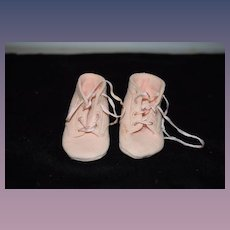 Vintage Doll Boots Shoes Lace Up Felt Pink Adorable
