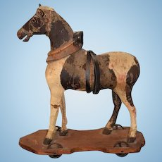 Antique Doll Pull Toy Horse On Wood Plank Glass Eyes 1895 W/ Provenance on Bottom