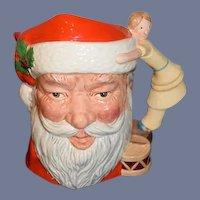 Large Royal Doulton Santa Claus W/ Girl Doll Handle D.6668 Christmas Wonderful