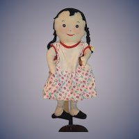 Wonderful Character Cloth Doll WHO?? Button Eyes Sewn Features Rag Doll