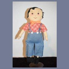 Old Doll Cloth Doll Rag Doll Character Boy Button Eyes