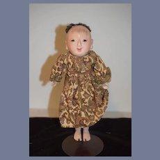 Old Oriental Doll Ichimatsu Papier Mache Swivel head