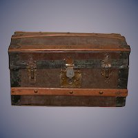 Antique Doll Trunk Miniature Sweet Lined Wood Metal Petite Size