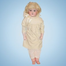Antique Doll Bisque Head Am 370 Riveted Leather Body with Composition Arms and Legs
