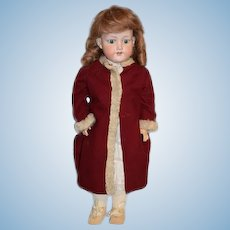 "Antique Doll Bisque Gorgeous Coat and Dress 21 1/2"" Tall AM 390"
