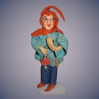 Vintage Eulenspiegel Doll Old German Jester Doll Felt and Bisque Plaster Baitz