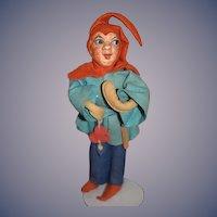 Vintage Eulenspiegel Doll Old German Jester Doll Felt and Bisque Plaster Baitz