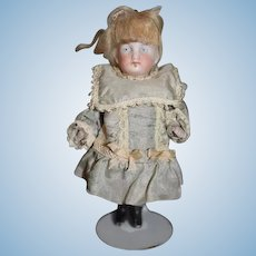 Antique Doll Miniature All Bisque Dollhouse Dressed