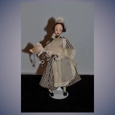 Vintage Klumpe Cloth Doll Nanny Holding Baby Sweet