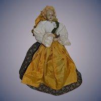 Old Doll Wax Head Arms Unusual Cone Skirt Bottom