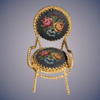 Vintage Miniature Doll Chair Dollhouse Needlepoint