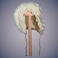 Vintage Doll Hand Made Bonnet Hat W/ Lace Sweet