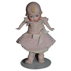 Old Doll Pink Tint Miniature All Bisque Dollhouse Character Dressed