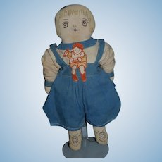 Old Cloth Doll Rag Doll Sewn Features Adorable