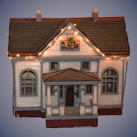 Antique Dollhouse Wonderfully Made W/ Glass Windows and Front Porch