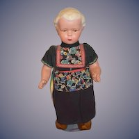 Old Wonderful Celluloid Walker Doll in Original Clothes