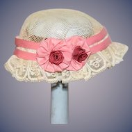Sweet Doll Lace Hat Bonnet Hand Made Flowers Bows Old Lace