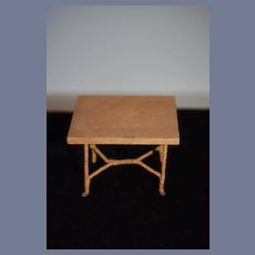 Old Doll Wood Wicker Wrapped Miniature Table Dollhouse