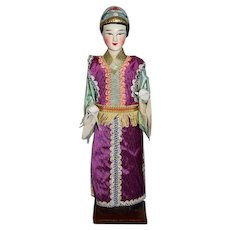 Old Oriental Doll in Original Box MANG LEE CHUN W/ Old Paper