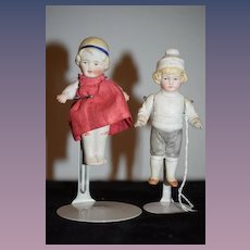 Antique Doll Set TWO All Bisque Dolls Miniature Sweet Dollhouse