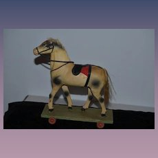 Old Doll Pull Toy Horse on Wheels Wood Plank