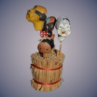 Old Unusual Oriental Doll Heads Miniature Character