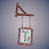 Doll Artist Wood Hand Painted Doll Shop Sign Miniature Sweet