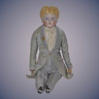 Antique Doll China Head Boy Wonderfully Dressed