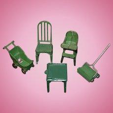 Old Doll Cast Iron Kilgore Dollhouse Miniature Set Rocker Baby Buggy High Chair Vacuum Table