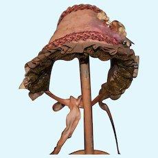 Vintage Doll Hat Bonnet Grandma Niles Lace Flowers Bow