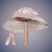 Wonderful Doll Hat Bonnet Fancy Pink with a Flower Wreath