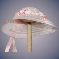 Wonderful Doll Hat Bonnet Fancy Pink with a Flower Wreath